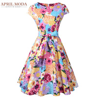 Colorful Flower Rockabilly Women Dress 50s Audrey Hepburn Style Summer Dress Vintage Retro Party Swing Pin Up Casual Dresses