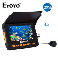 Eyoyo Fish Finder 20M HD 1000TVL Underwater Ice Fishing Camera Video 4.3 LCD 8pcs IR LED 150 Degrees Angle Sunvisor Fishfinder