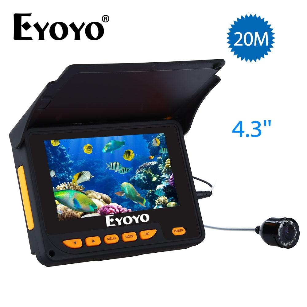 Eyoyo Рыболокаторы 20 м HD 1000tvl подводный Ice Рыбалка Камера видео 4.3 ЖК-дисплей 8 шт. IR LED 150 градусов угол солнцезащитный козырек fishfinder