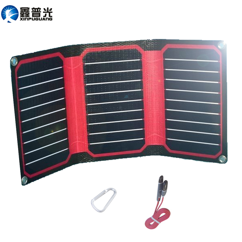 Xinpuguang 15W 5V ETFE Folding Solar Panel Waterproof Portable Solar Panel Charger USB DC Output for Phone Tablet Camping Travel image