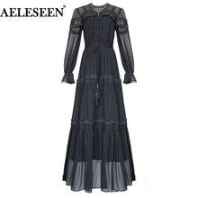 8453bfc294e0c3 AELESEEN kobiety długa sukienka maxi vintage 2019 wiosna lato czarna  sukienka kwiat haft pełny łuk panie
