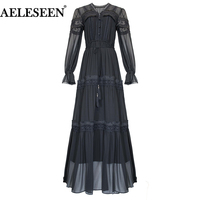 AELESEEN Women Vintage Maxi Long Dress 2019 Spring Summer Black Dress Flower Embroidery Full Bow Ladies Elegant Party Dress