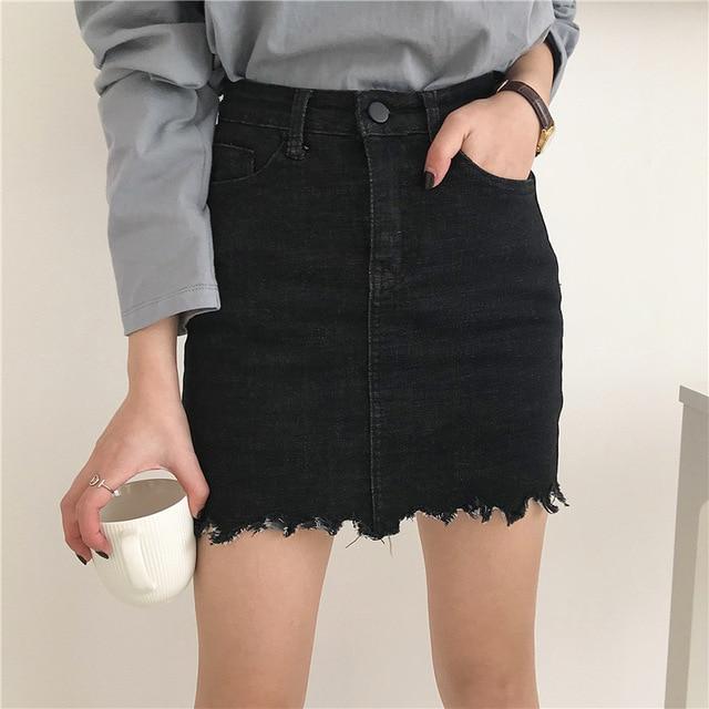 d0f2a47fceb Высокая Талия Джинсовая юбка черный для женщин мини юбки с безопасности  шорты для сырье потертые летние