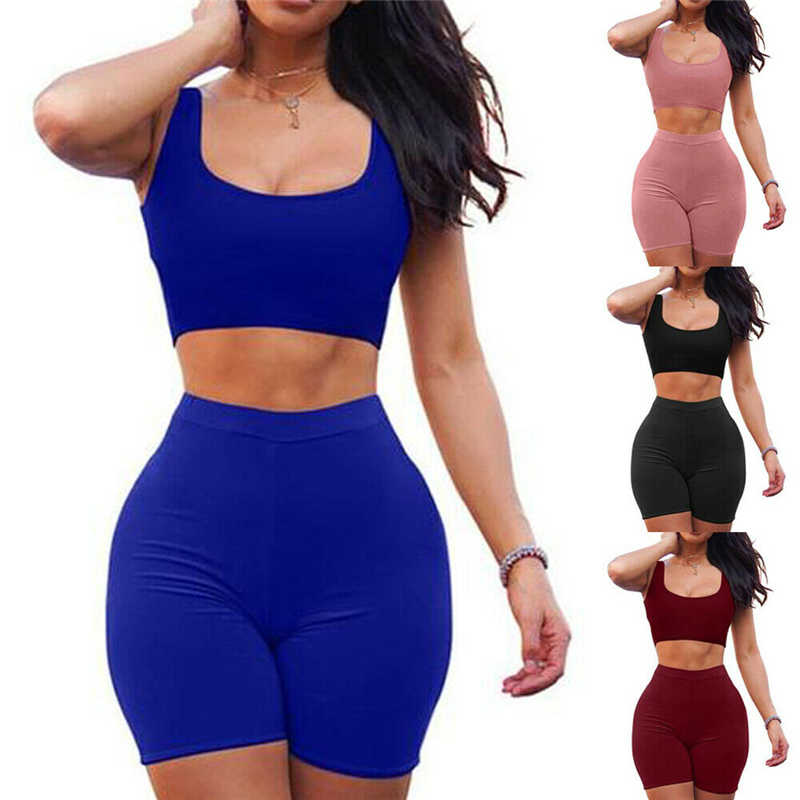 Women 2 Piece Set Crop Top&Shorts Bodycon Outfits Sport Workout Tracksuit 2019 Sexy Summer Slim Beach Party Club Clothing