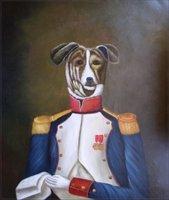קולר כלב אצילי ג 'נטלמן אמנות קיר המצויר ביד נוף מופשט קישוט בית בעלי החיים ציור שמן על בד ממוסגר