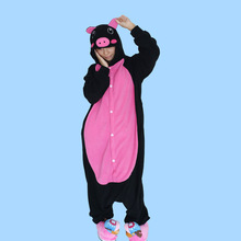 EIGHT UP Black pink pig Unisex Pajamas Party Clothing For Women Man Kigurumi Adult