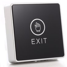 Черная сенсорная кнопка 12 В NC, кнопка выхода без двери, переключатель для контроля доступа, светодиодный, квадратный
