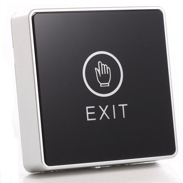 黒タッチボタン12ボルトnc noドア出口リリースボタンスイッチ用アクセス制御付きledスクエアタイプ