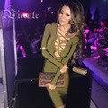 2016 Nuevo Envío Libre! impresionante Top Cruz Sexy Profundo Vneck Manga Larga Club de Partido de La Celebridad Del Vestido Del Vendaje