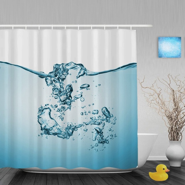 Beautiful Blue Water Decor Bathroom Shower Curtain Unique Designed Curtains Waterproof Mildew Polyester Fabric With Hooks