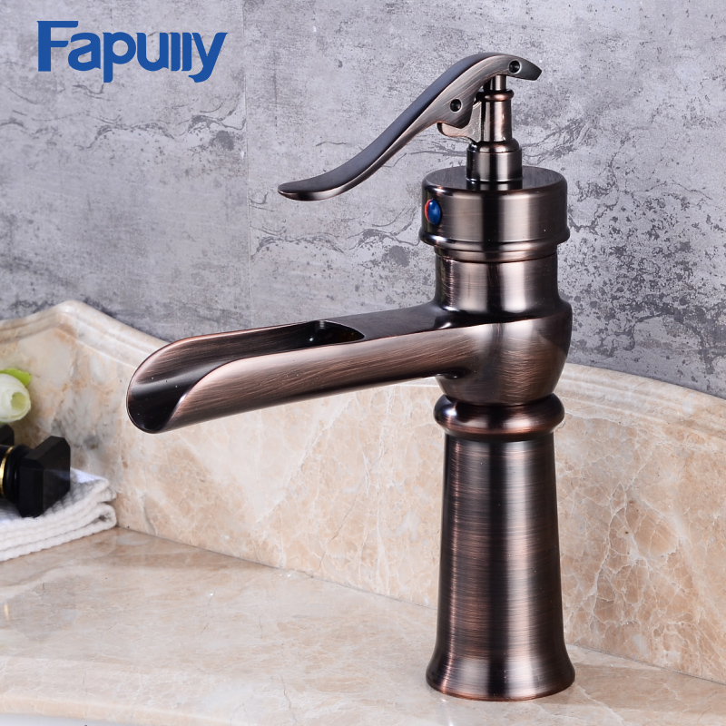 Fapully waterfall faucet Oil Rubbed Bronze Single Handle Basin faucet Bathroom Vanity Sink Mixer Tap цена 2017