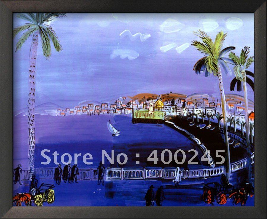 Modern oil painting Landscape art Baie des Anges Nice by Raoul Dufy Reproduction 100% handmade High quality