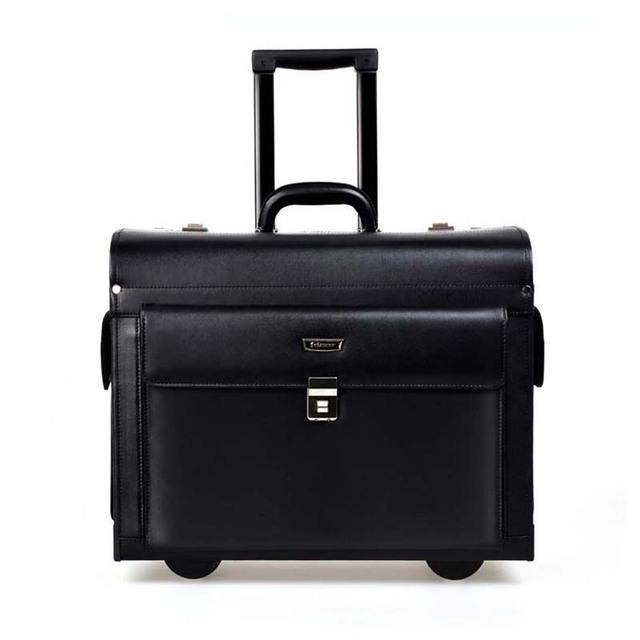 BeaSumore Rolling Luggage business Cabin Travel Bag Genuine Leather Pilots/captains dedicated flight Computer Suitcases Wheel