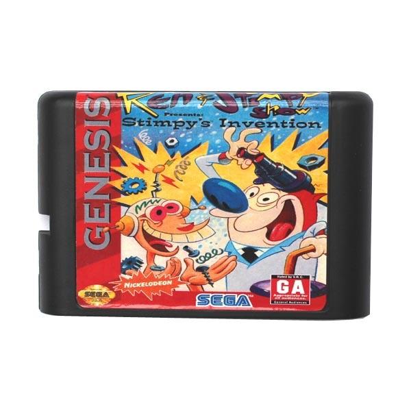 Sega MD game card – Ren & Stimpy Show Presents Stimpy's Invention for 16 bit Sega MD game Cartridge Megadrive Genesis system