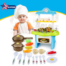Ship From USA Children Simulation Kitchen Set Pretend Play House kitchen Toys COOK FUN Game  Early Education Spray Girl Boy Toys new arrival house kitchen series super high simulation kitchen suitcase kitchenware tool table play