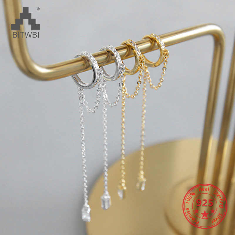 2019 Hot S925 Sterling Silver Exquisite Zircon Long Chain Tassel Dangle Earrings for Women