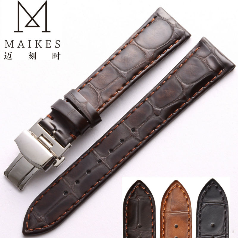 MAIKES 18 19 20 22mm Accessories Watchbands Brown Genuine Leather Strap Watch Band Watches Bracelet Belt Folding Clasp For OMEGA survival nylon bracelet brown