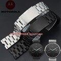 Venda de reloj de 22mm Nuevos Hombres de Plata Negro venda de reloj Correas de reloj de Acero Inoxidable para Motorola Moto 360 Inteligente moto360