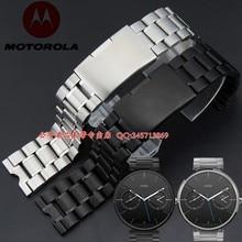 Bande de montre 22mm Nouveau Hommes Argent Noir En Acier Inoxydable Bracelets pour Motorola Moto 360 montre Smart watch bande moto360