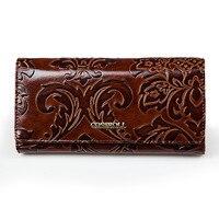 Female Long Wallet Vintage Floral Printing Purse Women S Designer Clutch Smart Phone Wallet With