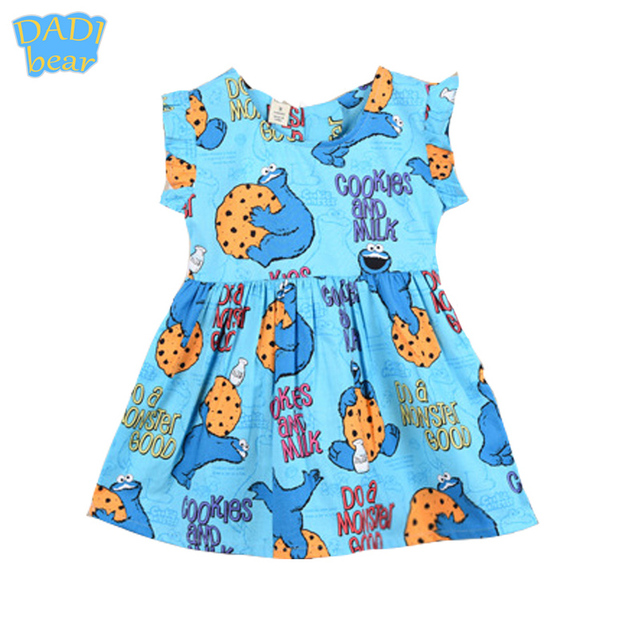 Funny Blue Cookie Monster Print Baby Girls Dress Fly Sleeve Princess