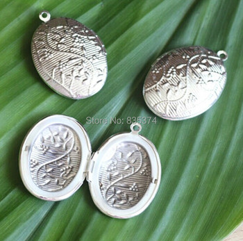 100pcs Wholesale SILVER Plated 28*30mm Oval PHOTO LOCKET Blank for Necklace Pendant & Charm Findings for Necklace Jewelry Making фото