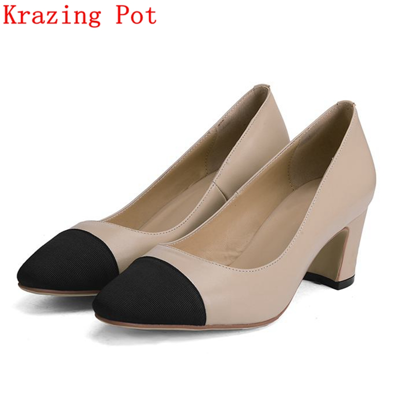 Fashion Brand Spring Mixed Colors Genuine Leather Sweet High Heels Women Pumps Square Toe Thick Heel Wedding Causal Shoes L17 women genuine leather sandals fashion pointed toe causal shoes buckle solid color black pink orange spring shoes square heel