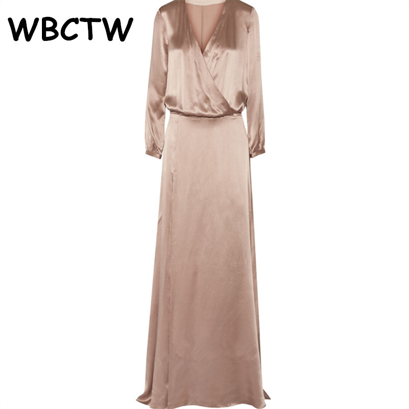 WBCTW φόρεμα σατέν μακρύ μανίκι - Γυναικείος ρουχισμός - Φωτογραφία 3