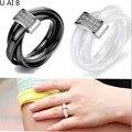 Branco anéis de cerâmica preta para as mulheres personalizado cerâmica tricíclicos anel 2016 moda jóias para as mulheres anel de pedra fina