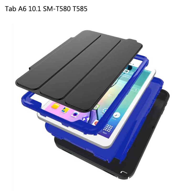 For Samsung Galaxy Tab A A6 10.1 SM-T580 SM-T585 T580N cvoer, 2107 New Silicone+PC Heavy smart flip stand protective case