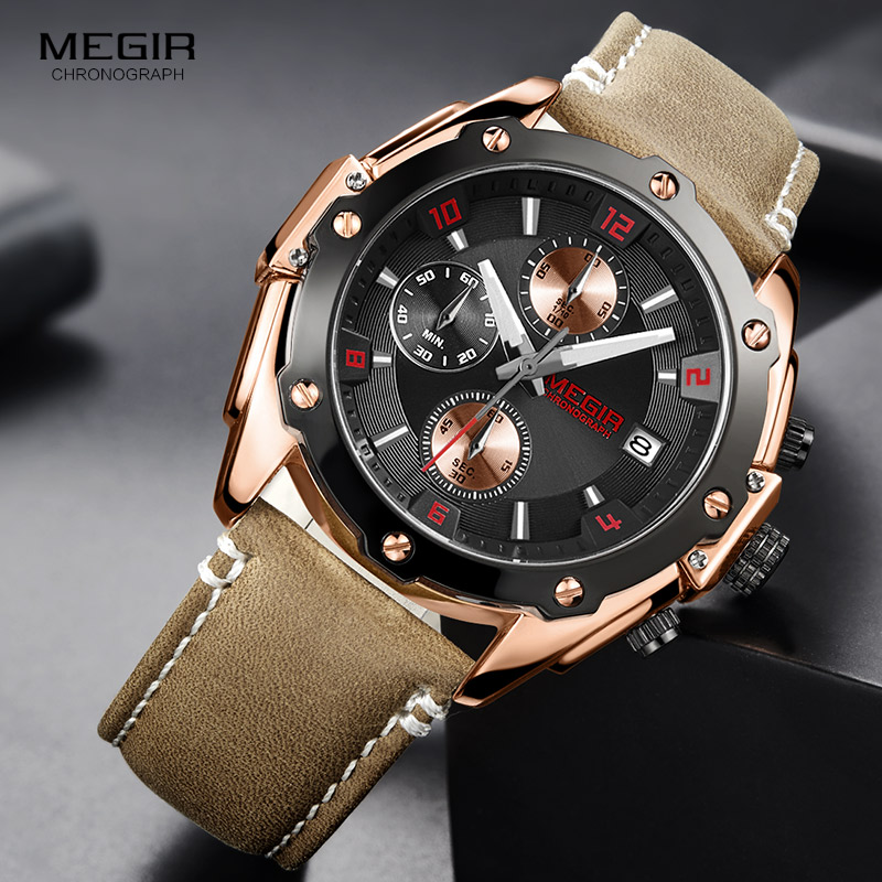 MEGIR Men Watch Brown Chronograph Quartz Watches Relogio Masculino Leather Military Watch Clock Men Erkek Kol Saati ML2074 lancardo relogio masculino men clock erkek kol saati retro design leather band analog military quartz wrist watch for boyfriend