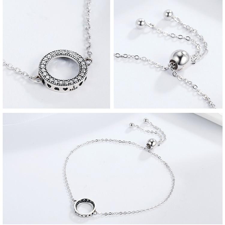 HTB1uklgmzihSKJjy0Ffq6zGzFXah BAMOER Trendy 925 Sterling Silver Glittering Round Circle Chain Link Strand Bracelets for Women Sterling Silver Jewelry SCB030