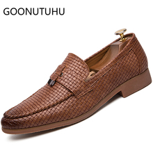 2019 new fashion men's shoes casual pu leather loafers male classic brown black slip on shoe man big size oxfords shoes for men