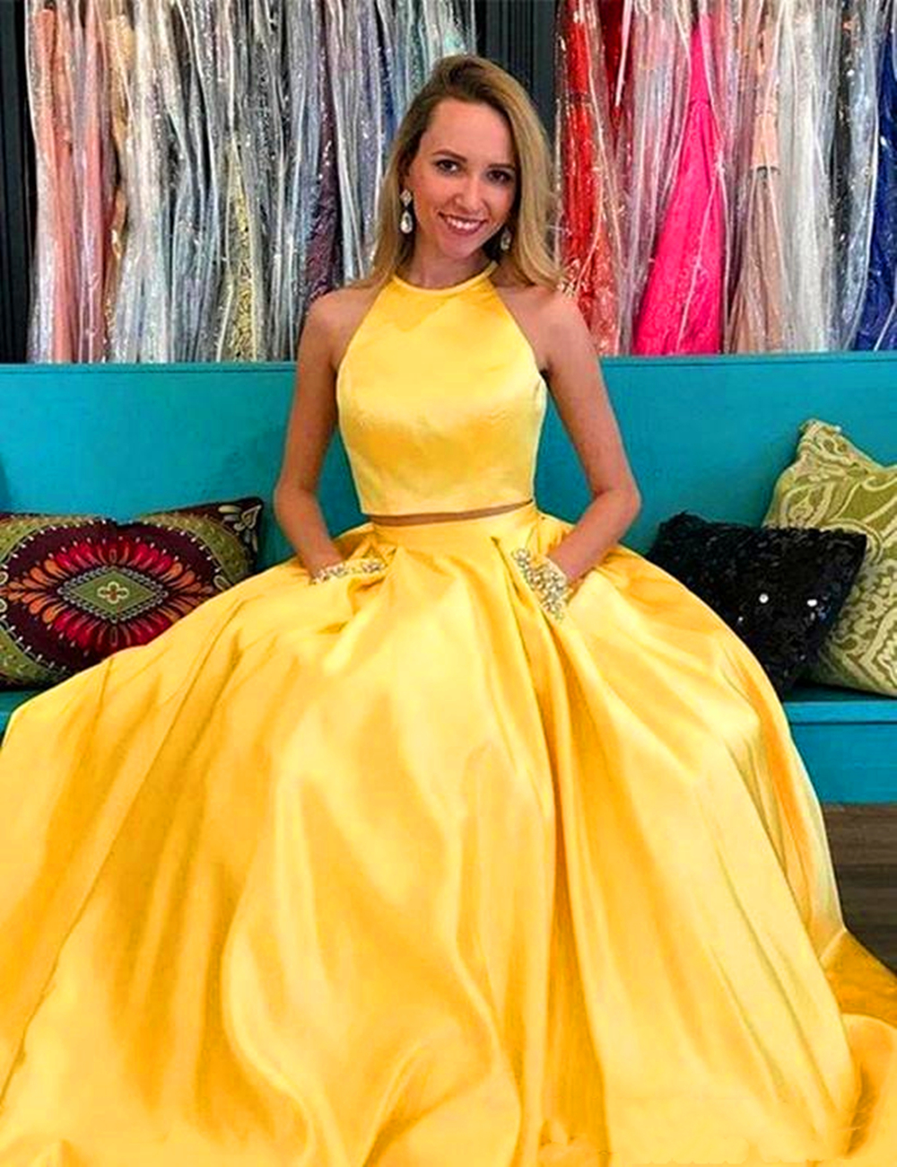 536e7a9beed 🔥 (SPECIAL PRICE) 2019 Simple Evening Dresses Yellow Satin Two ...