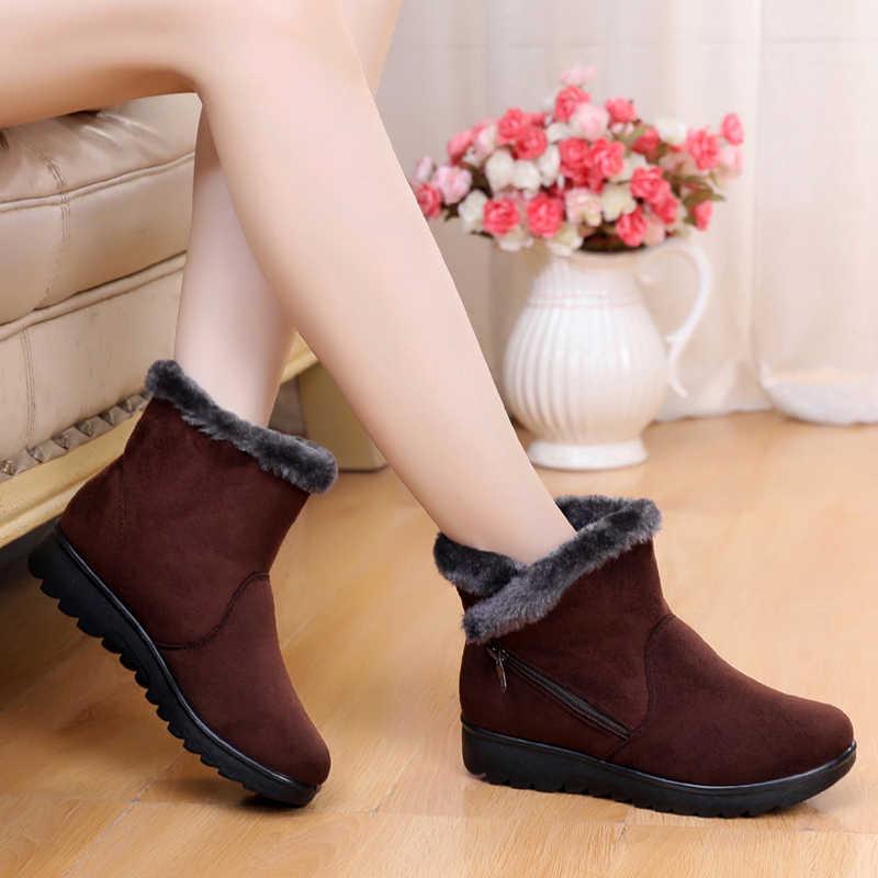 e981ad9ad 2018 nueva moda de invierno mujeres antideslizante botas Zapatos botas  mujer Casual plana con mantener caliente