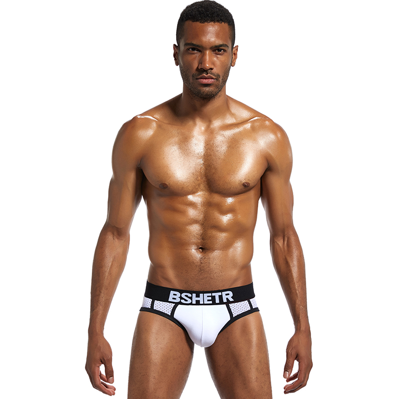 BSHETR Brand New Arrival Mesh Men Underwear Sexy U Pouch Pants Male Panties Gay Slip Briefs Homewear Cueca Breathable Underpants in Boxing Trunks from Sports Entertainment