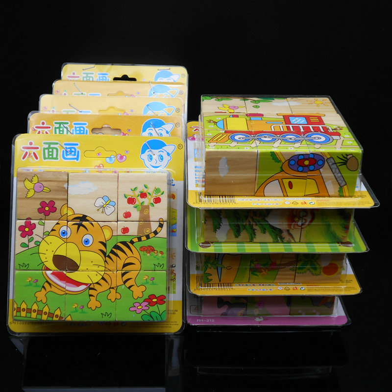 Free shipping KIDS WOODEN 3D Puzzle six sides puzzle/9 pce Set, cartoon animals PUZZLE, children's puzzle toys, educational toys цена