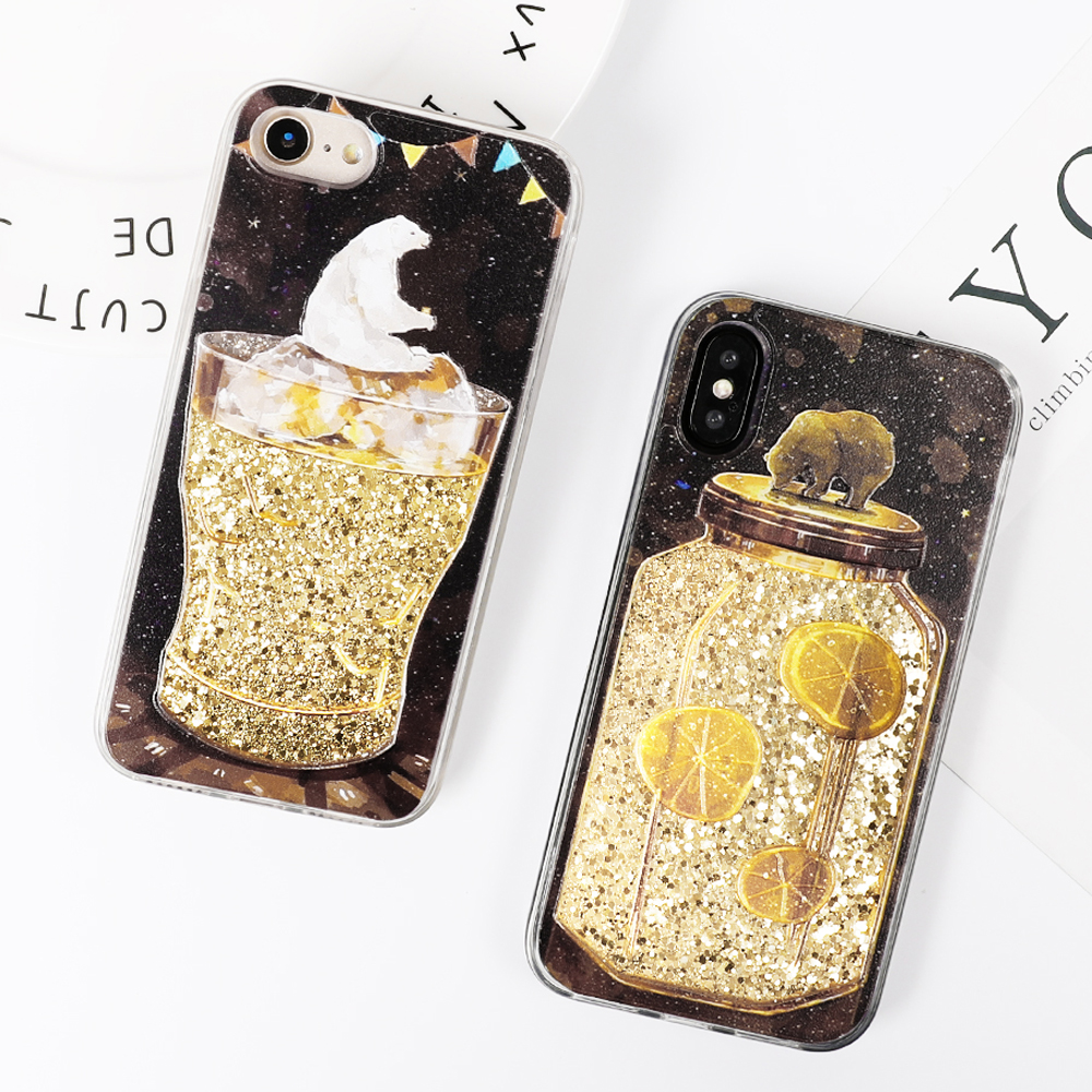 Dynamic Liquid Phone Iphone XS XR XS Max X 6 6S 7 8 Plus Cute Bear Drifting Bottle Soft TPU Back Cover Coque