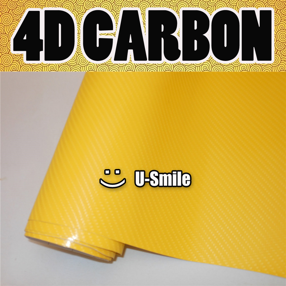 4D Gloss Yellow Carbon Fiber Sticker Decal Vinyl Wrap Air Release Grade For Car Wraps Size:1.52X30M/Roll