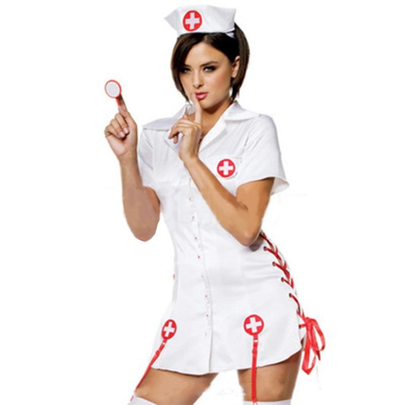 2017 New Design Hot Sale Sexy White Halloween Costume Short Sleeve Mini Dress Side Lace-Up Nurse Dress