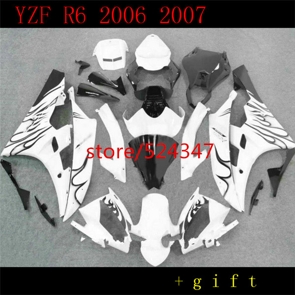 Nn-For R6S 2006 <font><b>2007</b></font> For YZF R6 <font><b>R</b></font> <font><b>6</b></font> YZF R6 YZFR6 2006 <font><b>2007</b></font> white black flame Aftermarket Motorcycle Accessories & Parts image