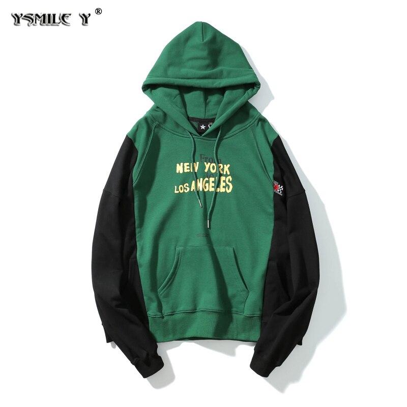 Уличная мода Для мужчин и wo Для мужчин же стиль сплошной цвет лоскутное Толстовки пуловер большой карман Колледж ветры хлопчатобумажной ко...