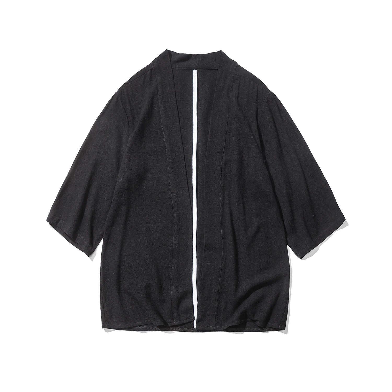 夏新男性ファッションカジュアルコットンリネンカーディガンシャツ男性日本スタイル着物シャツジャケットサイズ M-5XL