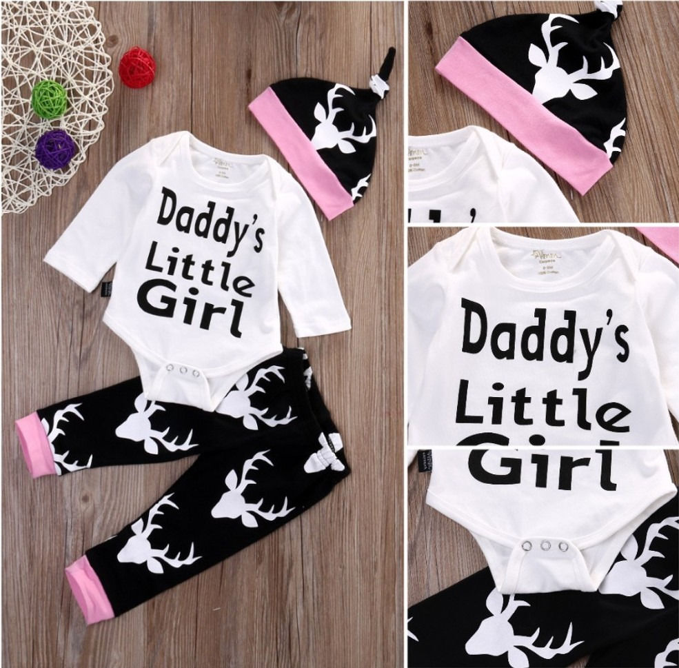 29920a6d autumn letter Baby Rompers daddy little girl Cotton Baby toddler Infant  deer Newborn Clothes Romper+Hat+Pant 3pcs Clothes Set-in Clothing Sets from  Mother ...