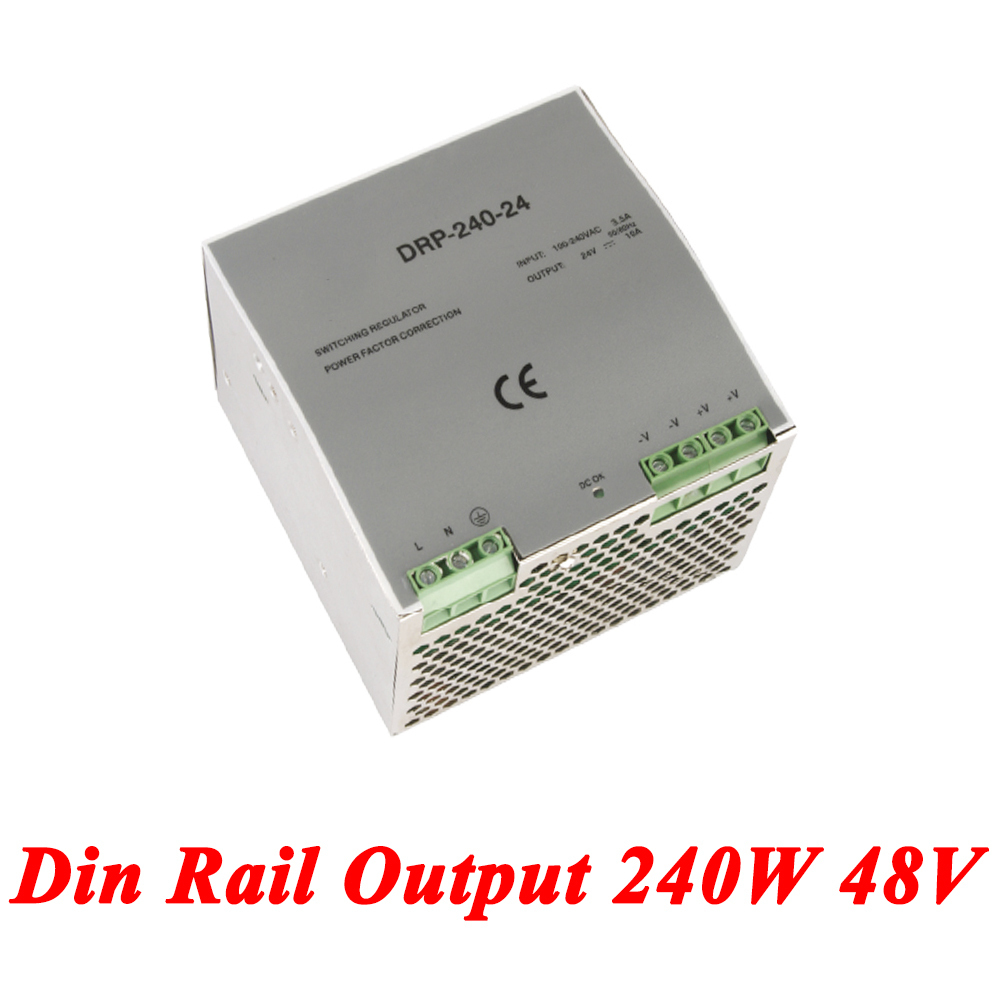 DR-240 Din Rail Power Supply 240W 48V 5A,Switching Power Supply AC 110v/220v Transformer To DC 48v,ac dc converter led power supply 48v 201w ac to dc switching power supply ac dc converter high quality s 201 48v free shipping
