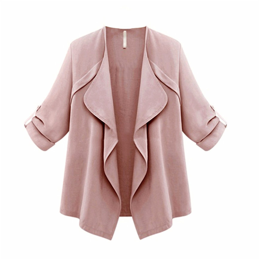 2018 New Spring Women Casual Outerwear Solid Pink Long Sleeve Loose Plus Coat Cardigan Coat L2~L5 Dropshipping 823