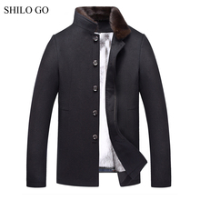 SHILO GO 4XL New Mens Winter Grey Jacket Coats Thick Parkas Plus Size Real Mink Collar Mink Fur Lining Outwear Fur coat