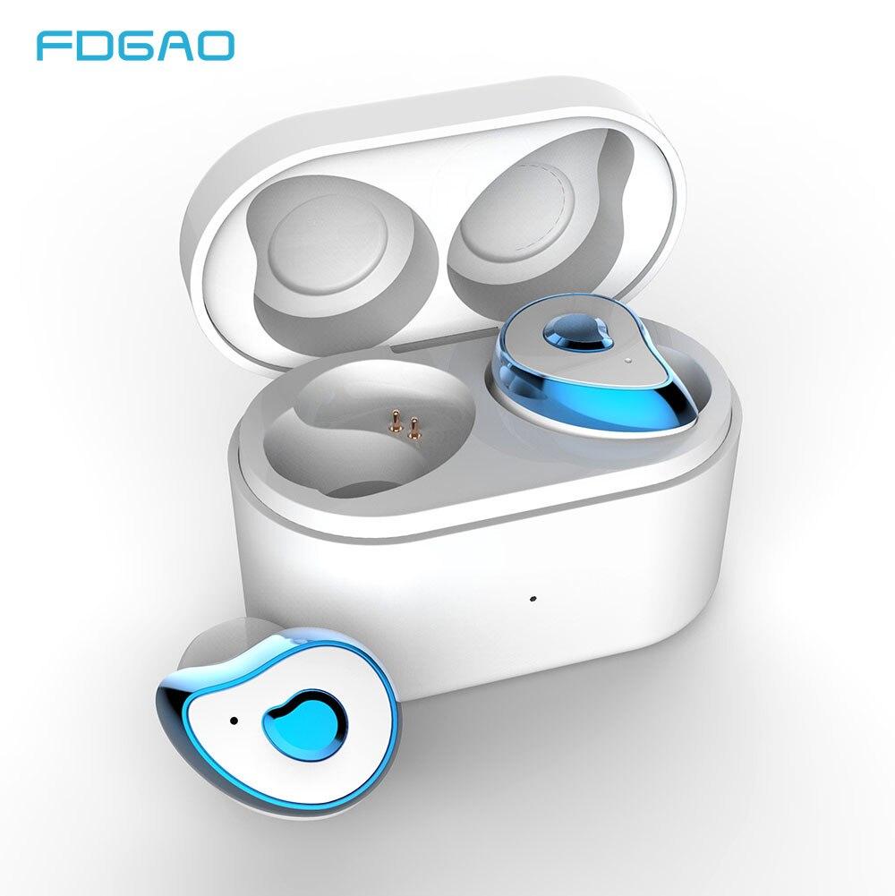 FDGAO sans fil Mini écouteur Bluetooth pour Xiaomi Huawei Mobile stéréo écouteurs Sport oreille téléphone avec micro Portable boîte de charge