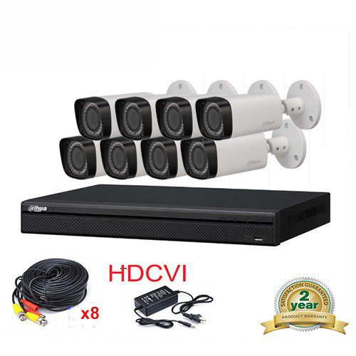 купить DAHUA HCVR7208A-S3 8CH H.264 1080P Mini HDCVI DVR Security System kit+8pcs DAHUA HAC-HFW2220R-Z IP67 2MP Smart IR-Bullet Camera дешево