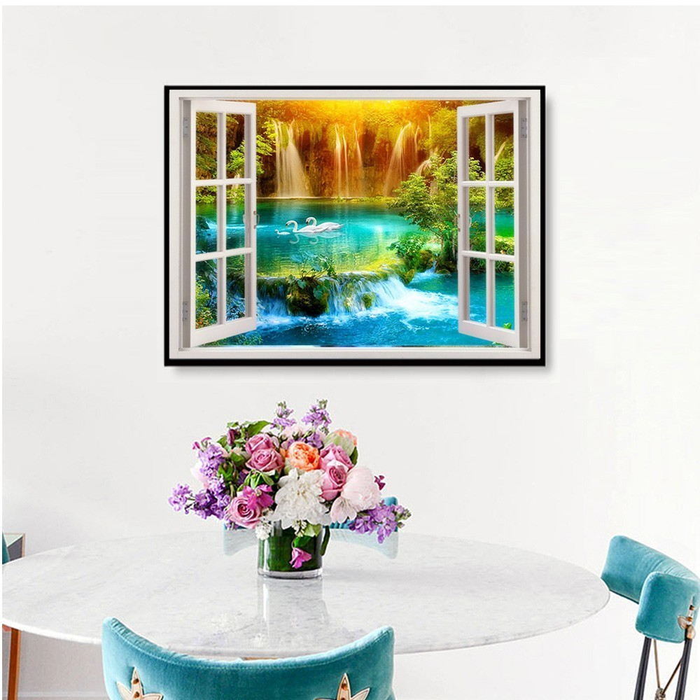 5D Diamond Painting Scenic Full Round Window Rhinestone Picture Embroidery Sale Diamond Mosaic Home Decor Gift DropShopping in Diamond Painting Cross Stitch from Home Garden